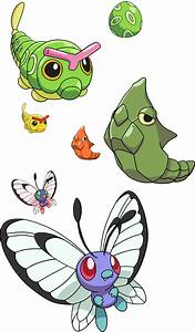 010, 011 and 012 - Caterpie Evolutionary Line by ...
