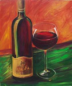 Wine bottle and wine glass canvas print size 16x20 made ...