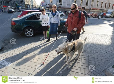 Blind Man And Guide Dog Editorial Image. Image Of Blind