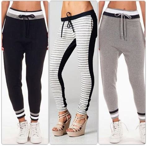 Pants joggers sweatpants girl comfy chilling navy black white grey stripes grey ...