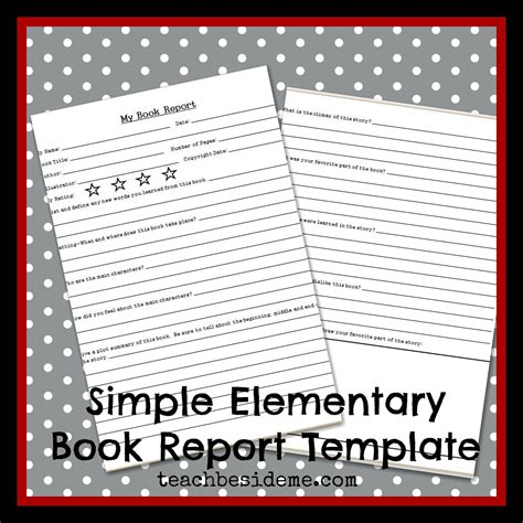 Book Reports Elementary by Elementary Level Book Report Template Teach Beside Me