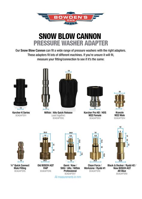 snow blow cannon adapters