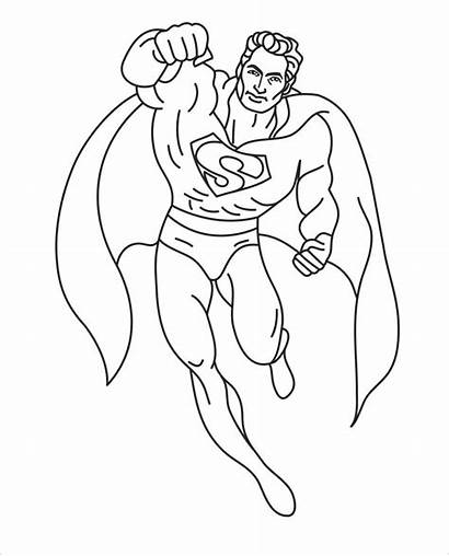 Coloring Superhero Pages Superman Template Templates Colouring
