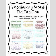 Vocabulary Tic Tac Toe By Rachel Kohl  Teachers Pay Teachers