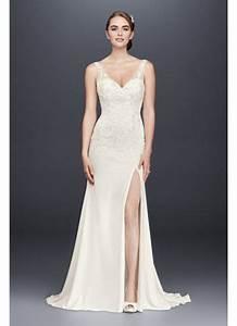 Lace appliqued stretch crepe sheath wedding dress david for Stretch lace wedding dress