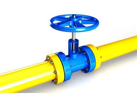 yellow water supply pipeline  blue valve stock