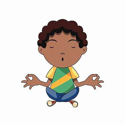 Yoga American African Boy Meditating Clip Illustrations