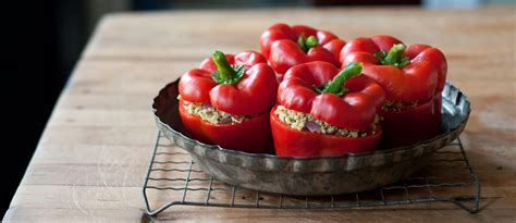 stuffed red peppers  couscous  green beans recipe relish