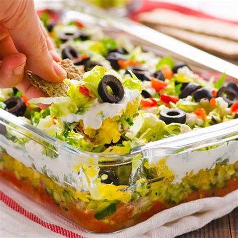 layered dip greek salad layered dip recipe ifoodreal healthy family recipes