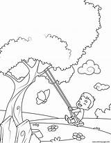 Coloring Swing Boy Pages Printable sketch template