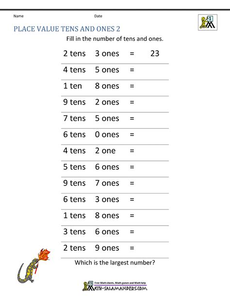 math place  worksheets  digit numbers
