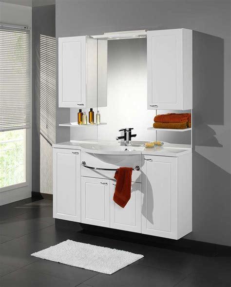 meuble de salle de bain contemporain avec vasque et miroir blanc marinelle ensemble de salle