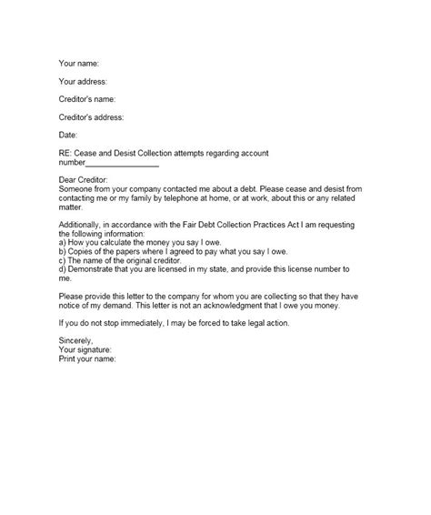 cease  desist letter templates  template lab