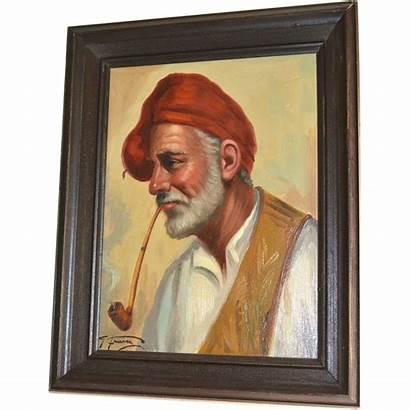 Smoking Pipe Oil Artist Fraia Italian Painting