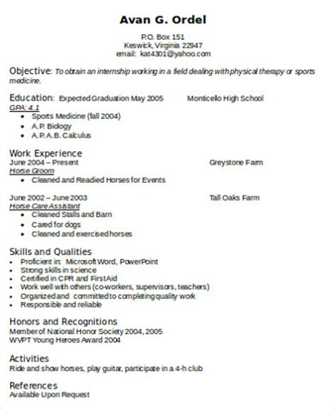Skills For Resume Therapist sle physical therapist resume 8 exles in word pdf