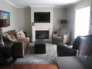 Superb grey shag rug in living room traditional with dark for Black and brown furniture in living room
