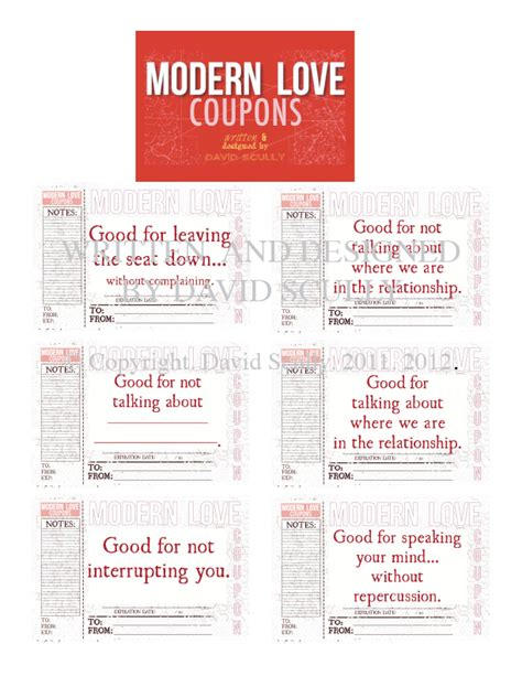 modern love coupon book salutations  scully greeting cards