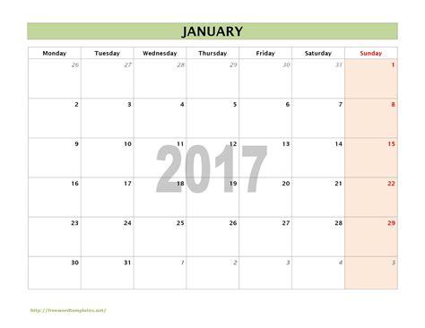 monthly calendar template 2017 2017 calendar templates