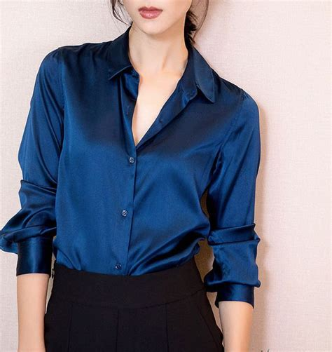 xxxl fashion women dark blue satin silk blouse ladies