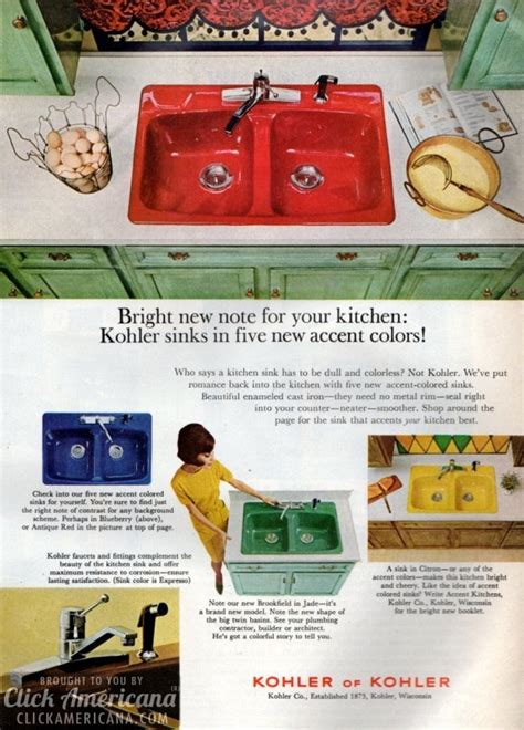 Bold & Brightlycolored Kitchen Sinks ('60s & '70s