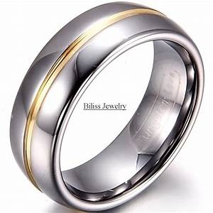 8mm width mens gold inset tungsten carbide ring aniversary for Wedding rings silver and gold
