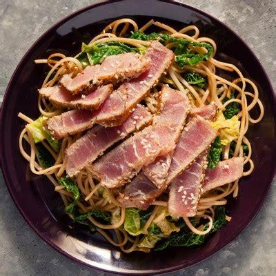 pan fried tuna steak   ginger  sesame noodle salad
