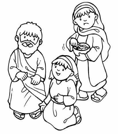 Martha Mary Coloring Jesus Pages Bible Clipart