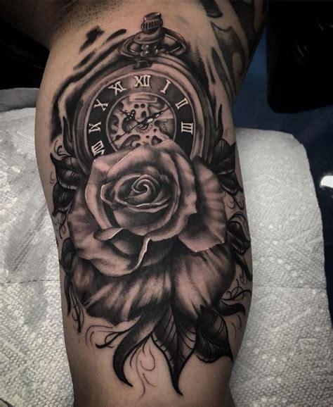 daddy jacks body art studio tattoos jake hand black  grey clock  rose