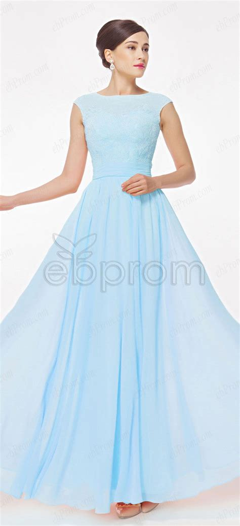 blue long prom dresses cap sleeves ebprom prom dresses