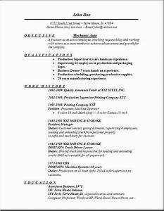 formatted resume mechanic auto resume occupational examples samples free