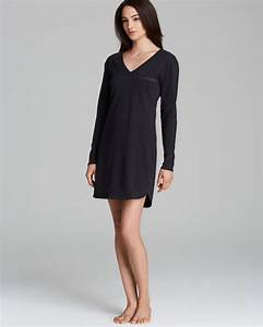 Calvin klein Long Sleeve Cotton Nightgown in Black | Lyst