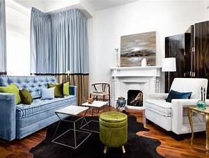 idee deco salon de style anglais pour atmosphere elegante With tapis peau de vache avec canape cuir linea sofa