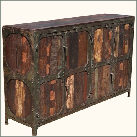 Rustic Credenza - industrial iron rustic reclaimed wood distressed