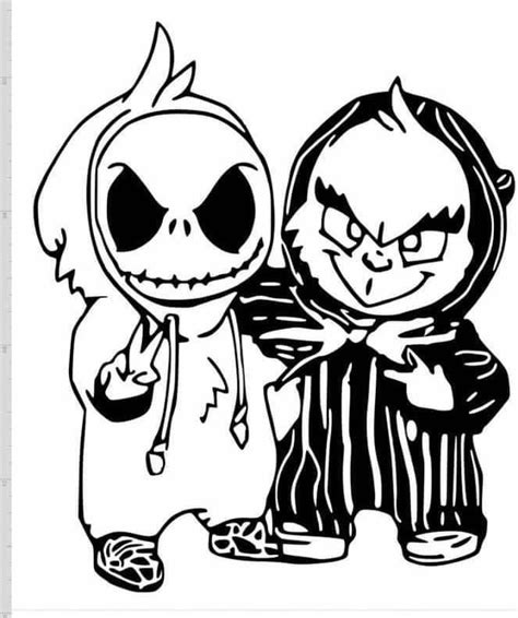 Report this item to etsy. Baby jack skeleton & grinch   Nightmare before christmas ...