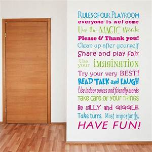 ZY8332 English House Rules/playground Rules Bedroom Living