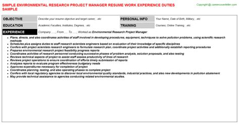 environmental research project manager title