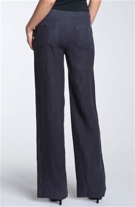 vince wide leg linen drawstring pants  blue coastal