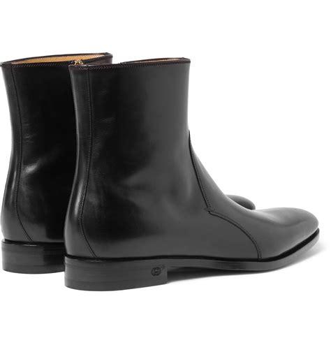 gucci leather chelsea boots  black  men lyst