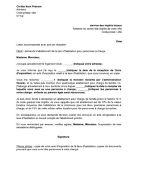 modele lettre collecte taxe d apprentissage lettre de demande d abattement de la taxe d habitation