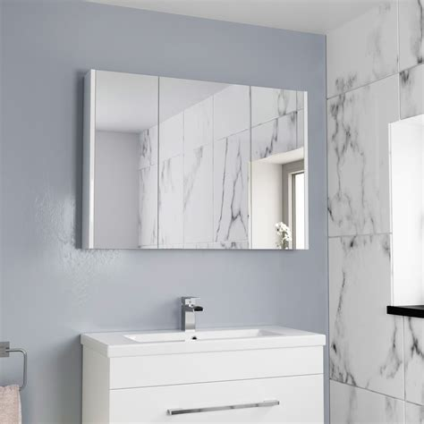 Bathroom Cupboard With Mirror by 900mm Bathroom Mirror Cabinet 3 Door Storage Cupboard Wall