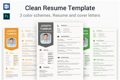 Clean Resume Template Free by 65 Eye Catching Cv Templates For Ms Word Free To