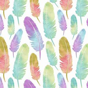 Boho Feather Pattern Watercolor Rainbow by JannaSalak ...