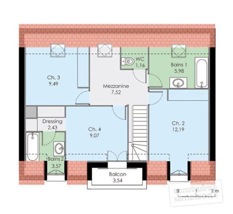 chambre avec salle de bain ouverte et dressing maison familiale 2 dé du plan de maison familiale 2