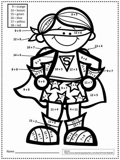 Grade Superhero Math Coloring Number Pages Printables