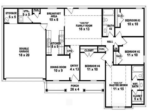 4 bedroom floor plans one 4 bedroom one ranch house plans inside 4 bedroom 2