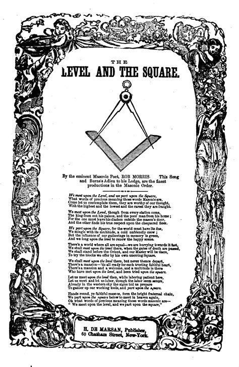 The level and the square. By the eminent Masonic poet, Rob