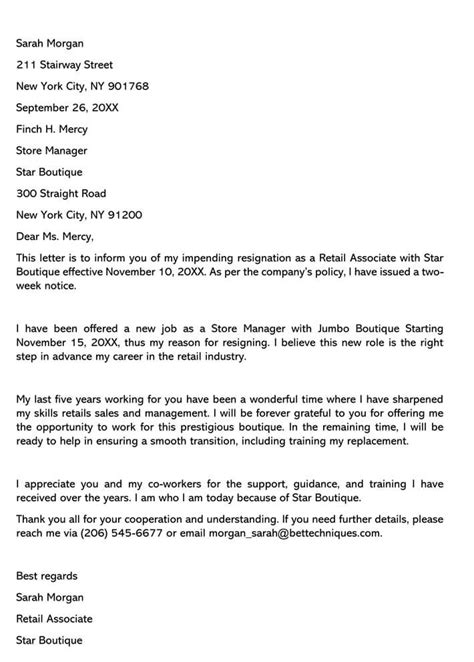 Retail Position Resignation Letter (Sample Letters & Email Examples)