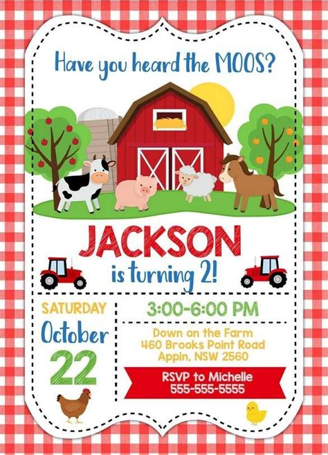 farm party invitation template printable farm