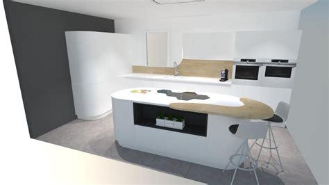 cuisine avec ilots cuisine moderne blanche avec îlot arrondi