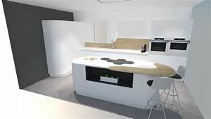 cuisine moderne blanche avec ilot arrondi youtube With cuisine avec ilot central arrondi